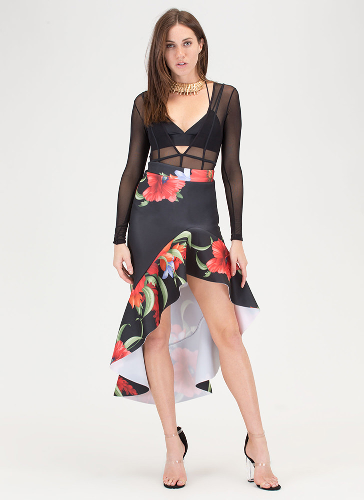 Dance Partner Ruffled Floral Scuba Skirt BLACK