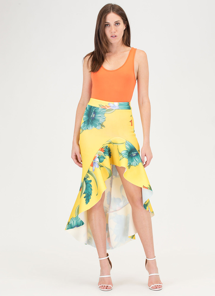 Dance Partner Ruffled Floral Scuba Skirt YELLOW