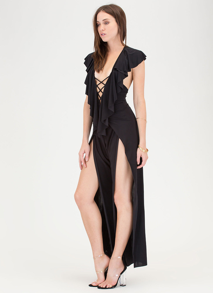 Ruffle You Up Split Leg Jumpsuit BLACK