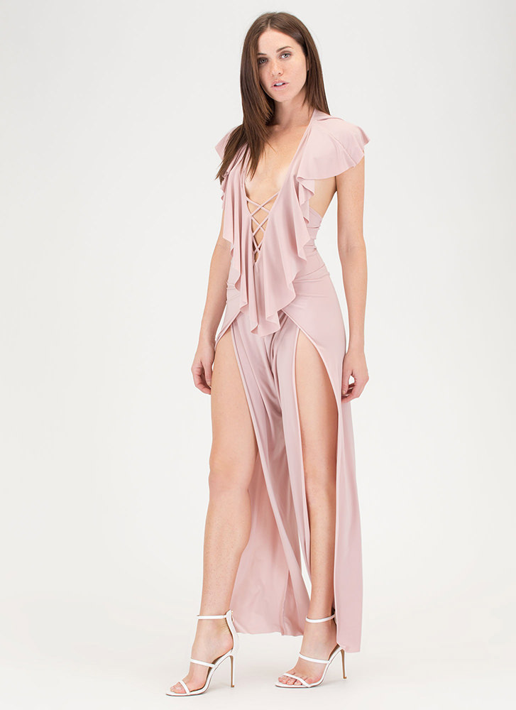 Ruffle You Up Split Leg Jumpsuit LTPINK
