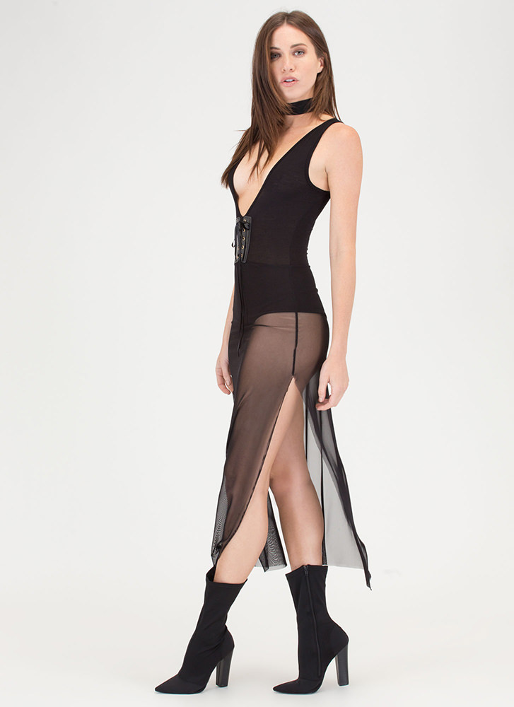 Laced It Double Slit Mesh Bodysuit Dress BLACK