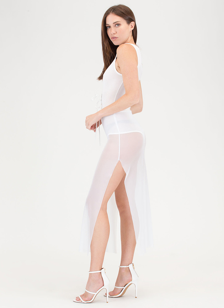 Laced It Double Slit Mesh Bodysuit Dress WHITE