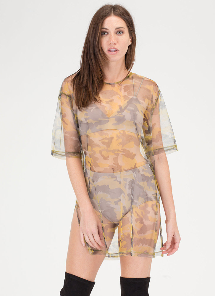 Barely There Sheer Camo Shirt Dress YELLOW