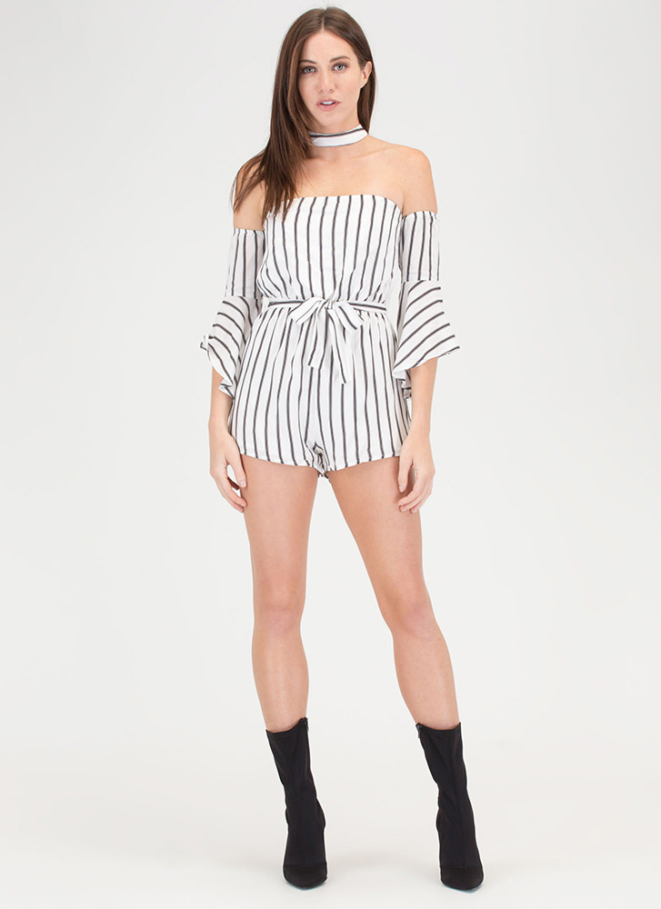 Lined Up Next Striped Choker Romper IVORY