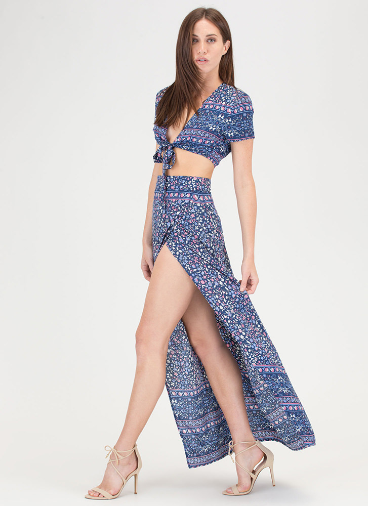 Fields Of Flowers Crop Top And Skirt Set NAVY