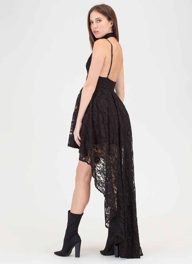 Lace Instinct High-Low Flared Dress BLACK