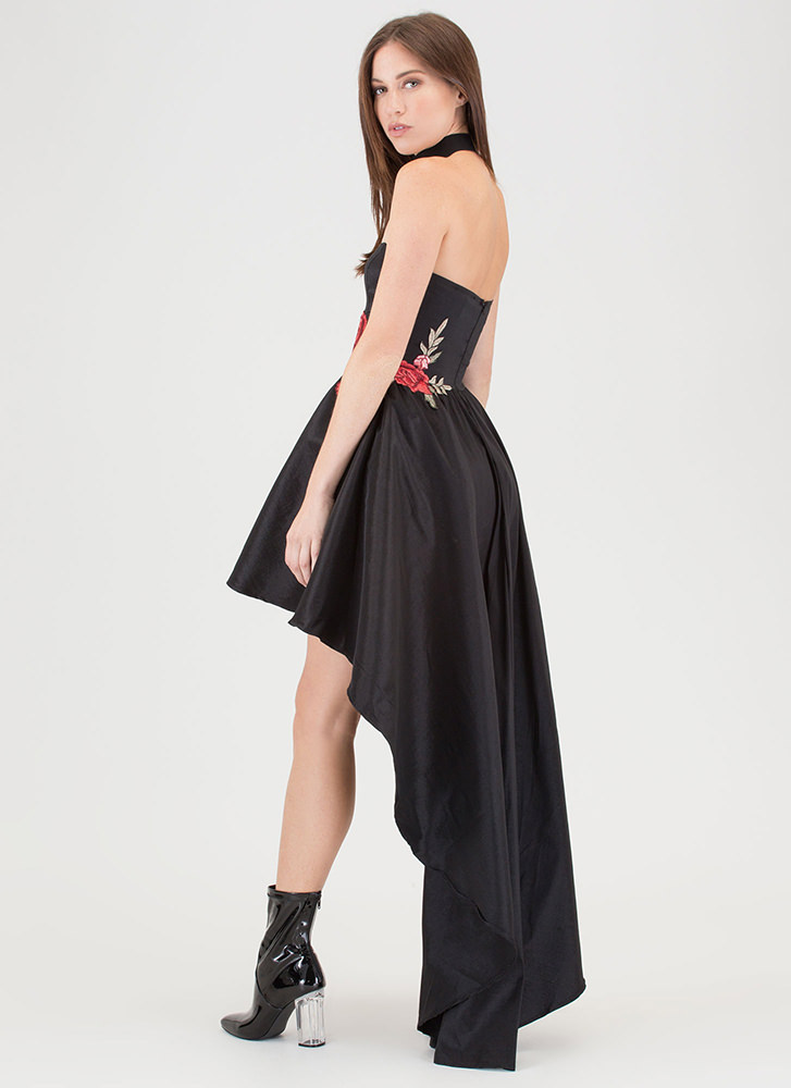 Flower Party Strapless High-Low Dress BLACK