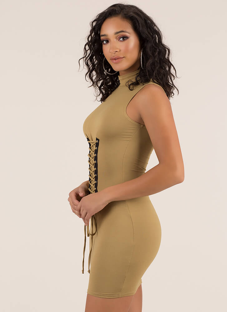 In Due Corset Lace-Up Mockneck Dress CAMEL