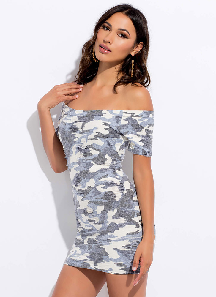 At Ease Faded Off-Shoulder Camo Dress BLUE