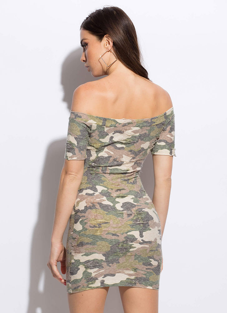 At Ease Faded Off-Shoulder Camo Dress GREEN