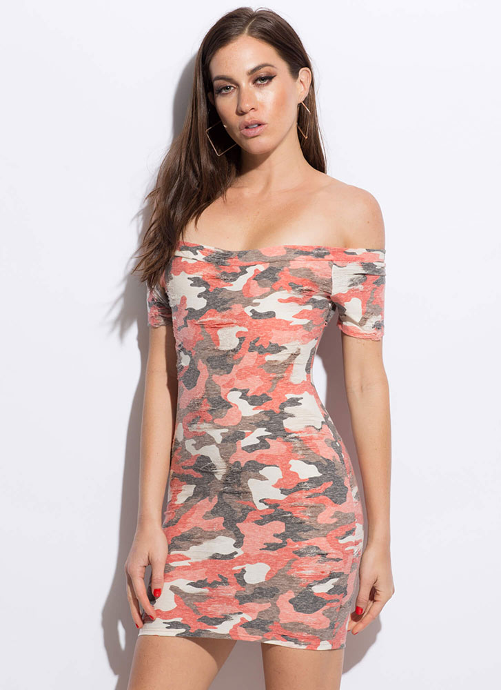 At Ease Faded Off-Shoulder Camo Dress ORANGE