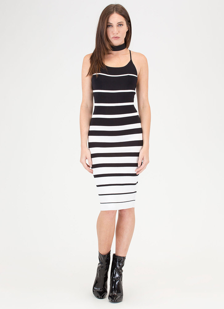 Memorizing Lines Striped Knit Dress BLACKWHITE