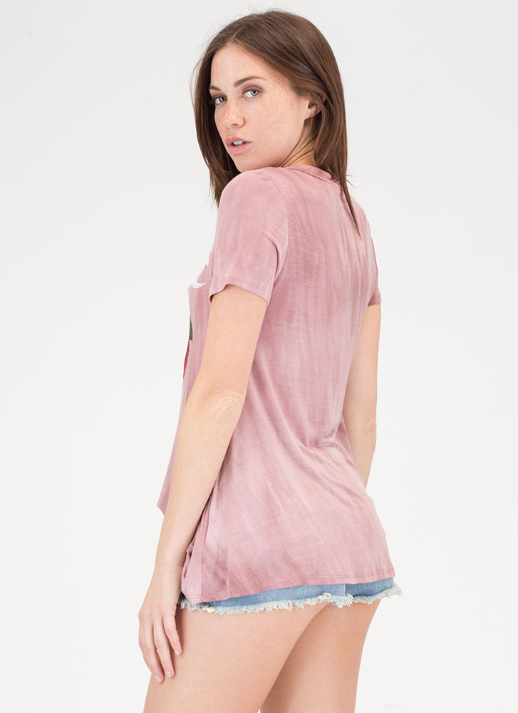 Love And Roses Strappy Flared Top MAUVE (Final Sale)
