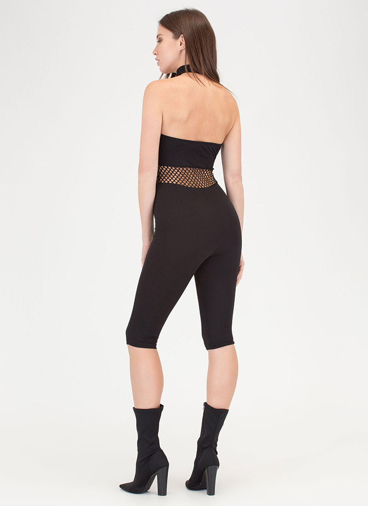 In The Middle Sheer Latticed Jumpsuit BLACK