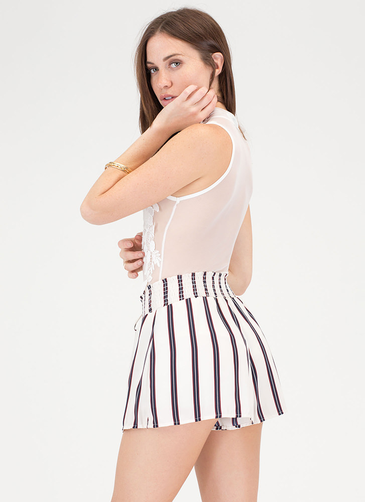 Stripe Now Contrast Shorts OFFWHITE (You Saved $13)