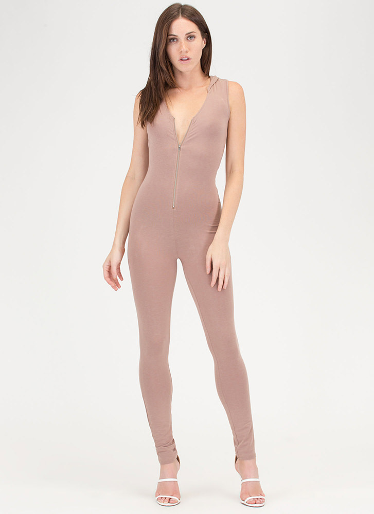 Hood Time Zip-Up Jumpsuit TAUPE