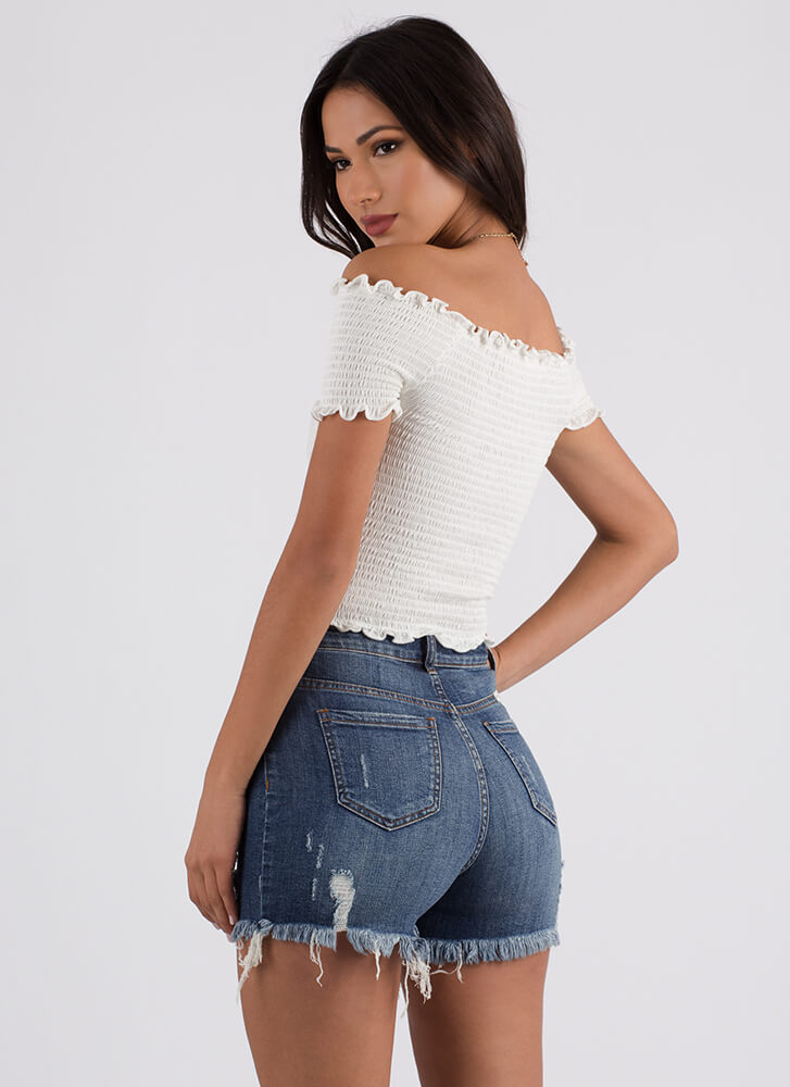 Smock Me Ruffled Off-Shoulder Top OFFWHITE