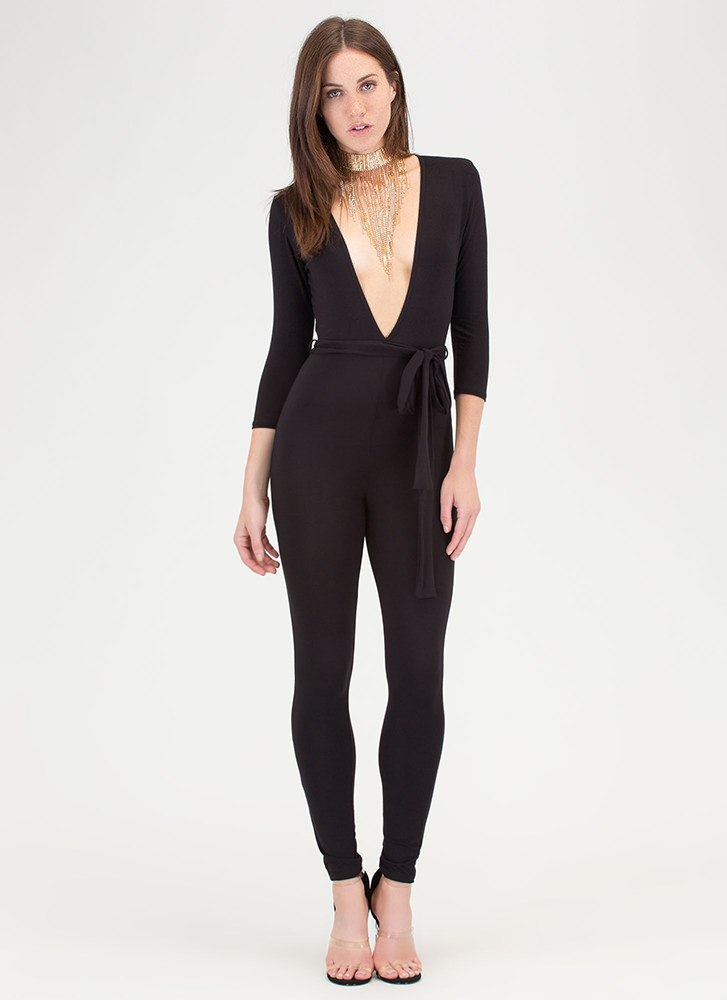 Chic Dreams Plunging Tied Jumpsuit BLACK