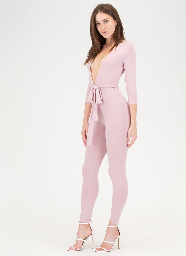 Chic Dreams Plunging Tied Jumpsuit ROSE