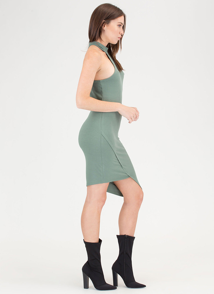 Racer To The Finish Asymmetrical Dress SAGE
