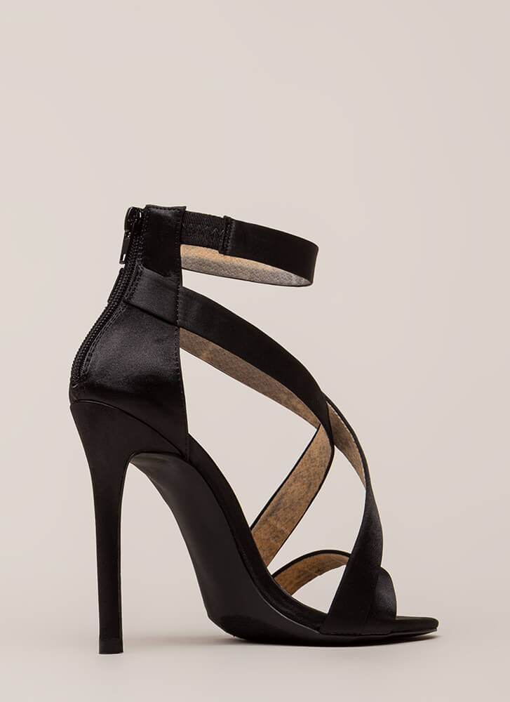 Exclusive Crowd Caged Satin Heels BLACK