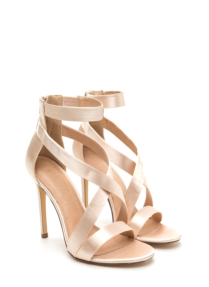 Exclusive Crowd Caged Satin Heels CHAMPAGNE