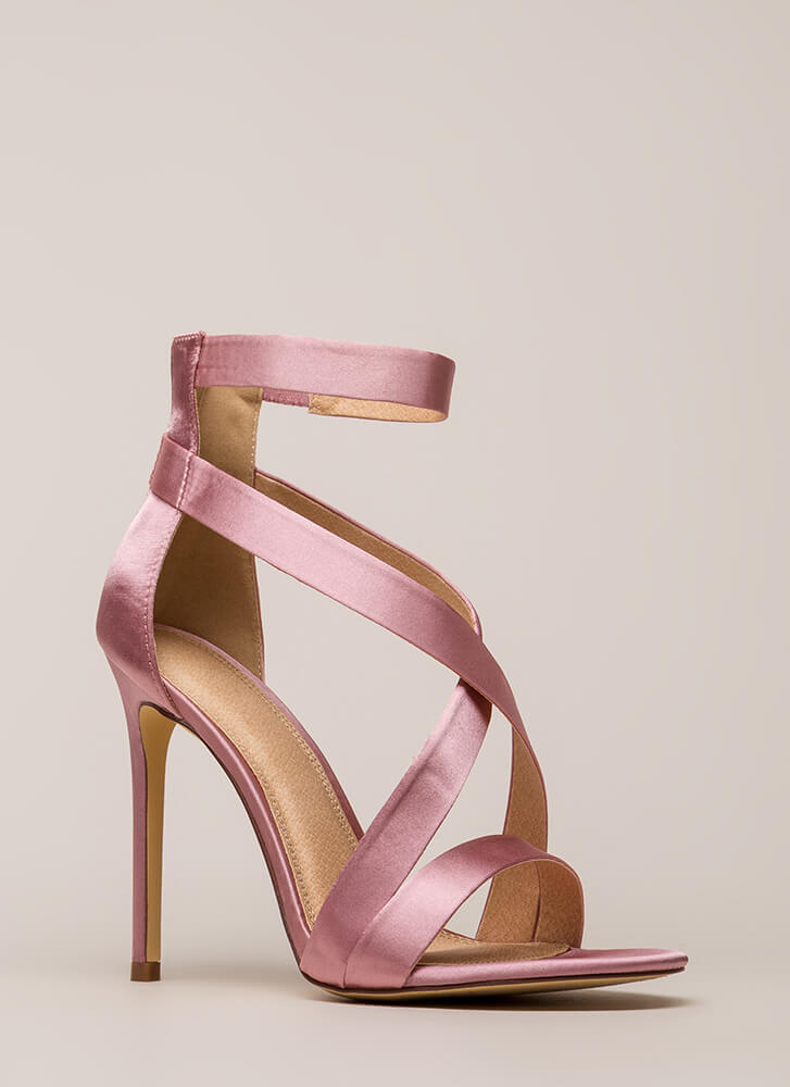 Exclusive Crowd Caged Satin Heels DUSTYPINK