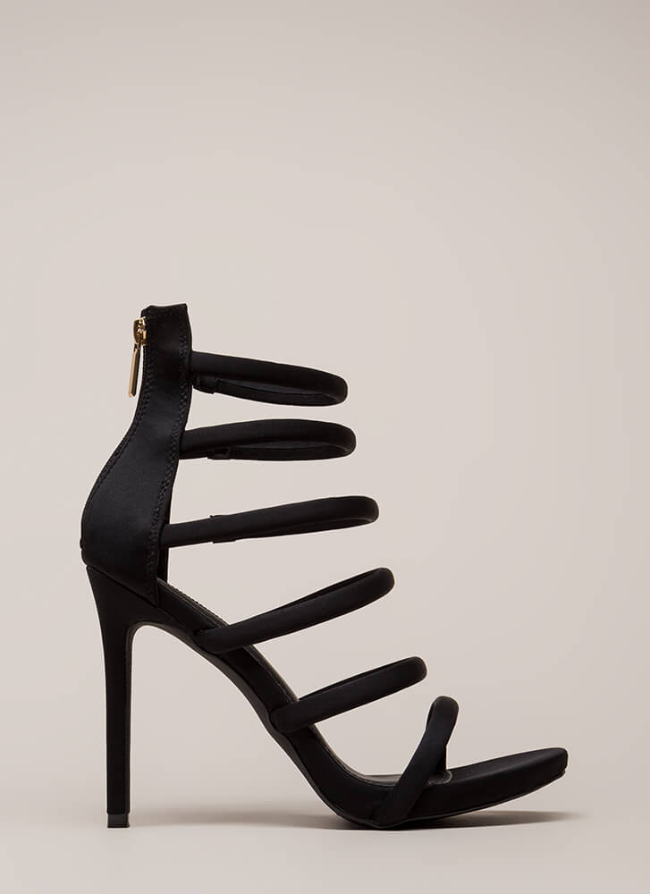 Six And Match Caged Stiletto Heels BLACK