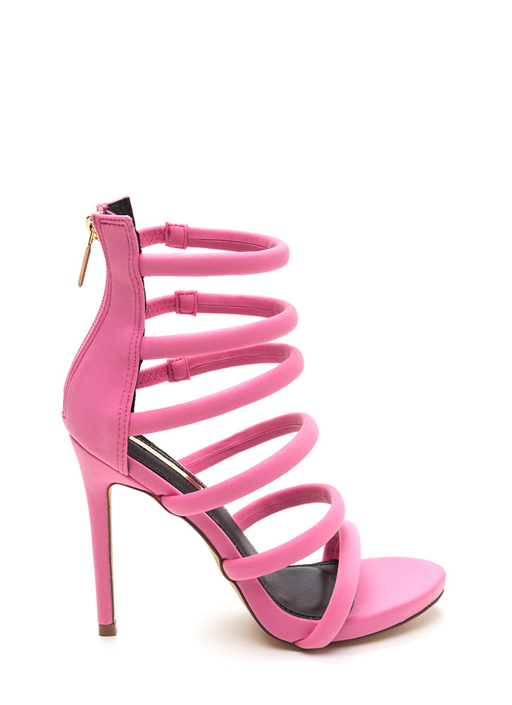 Six And Match Caged Stiletto Heels PINK