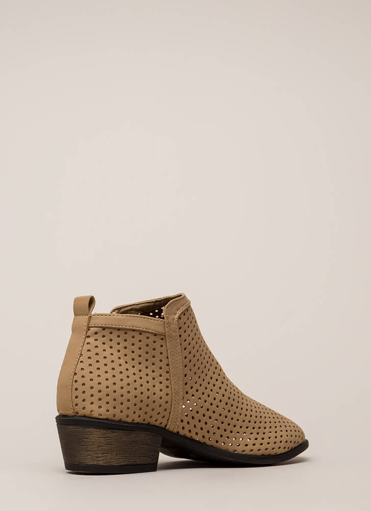 Everyday Chic Perforated Chunky Booties TAN