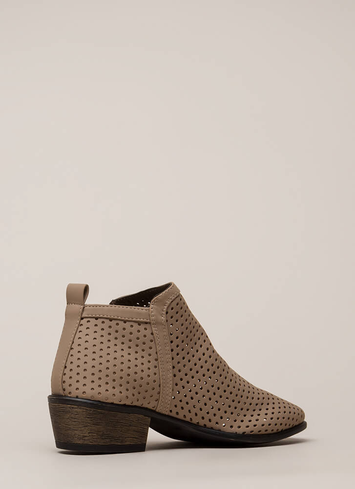 Everyday Chic Perforated Chunky Booties TAUPE