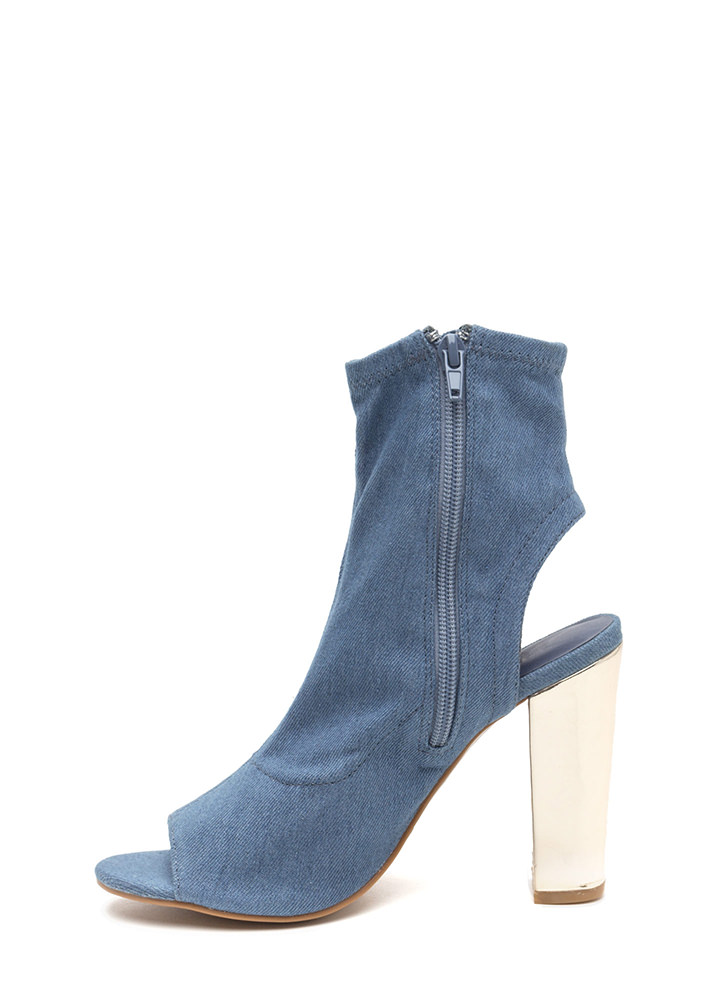Sleek Preview Cut-Out Denim Booties BLUE