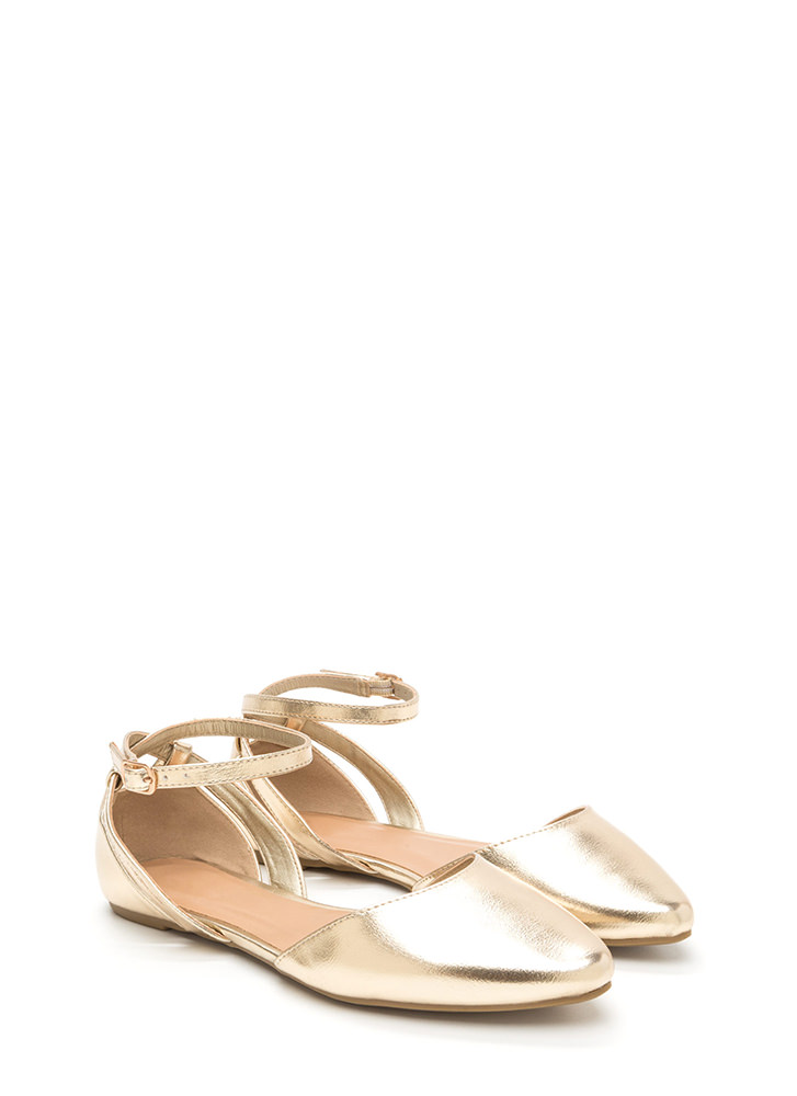 Point Taken Metallic D'Orsay Flats GOLD