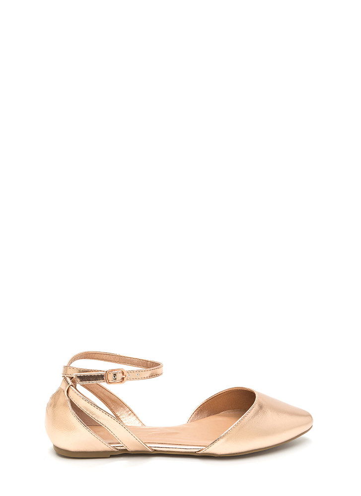Point Taken Metallic D'Orsay Flats ROSEGOLD