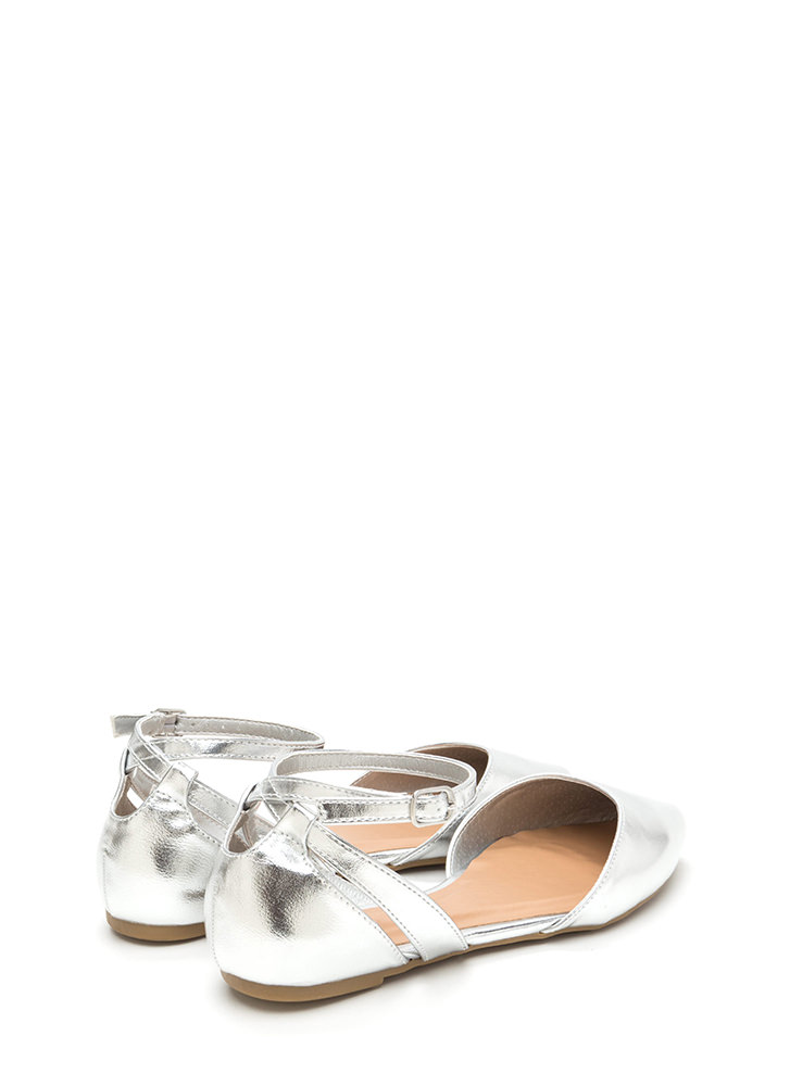 Point Taken Metallic D'Orsay Flats SILVER