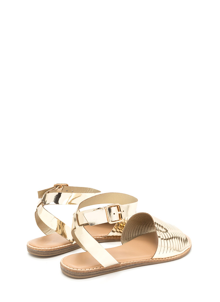 Vacay Chic Slit Metallic Sandals GOLD