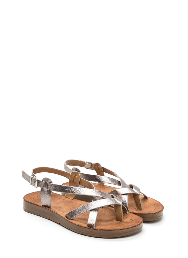 Strappy Attitude Faux Leather Sandals PEWTER