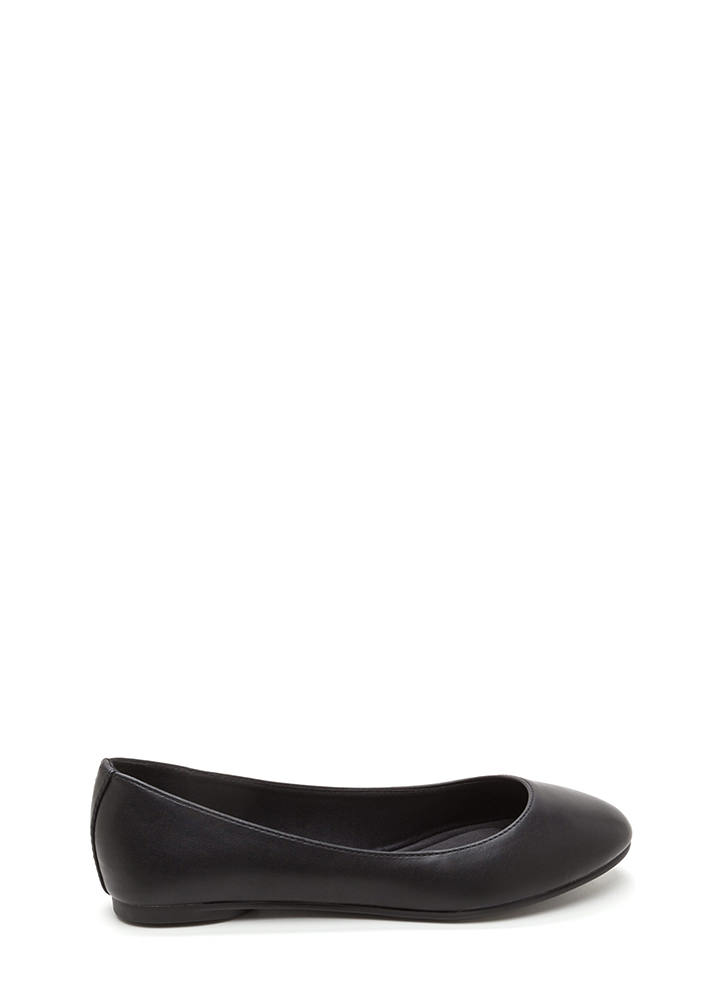All Day Chic Faux Leather Ballet Flats BLACK