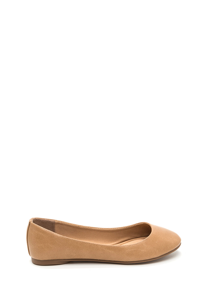 All Day Chic Faux Leather Ballet Flats CAMEL