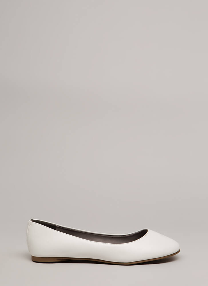 All Day Chic Faux Leather Ballet Flats WHITE