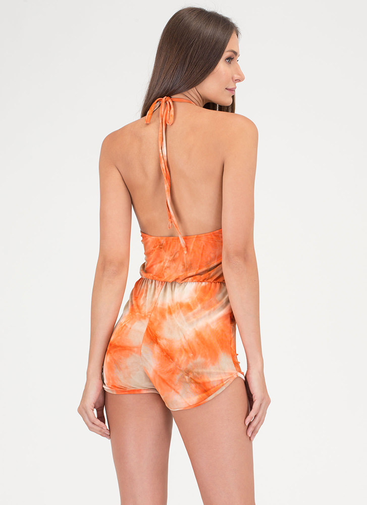 Beachy Fantasy Tie-Dye Halter Romper ORANGE