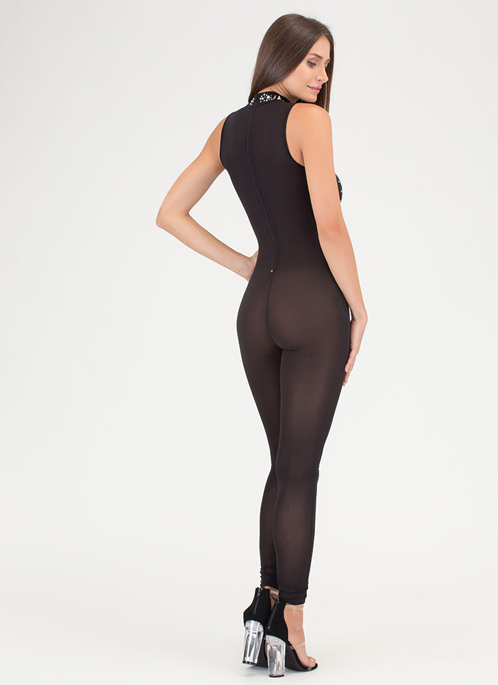 Front And Center Sheer Jeweled Jumpsuit BLACK