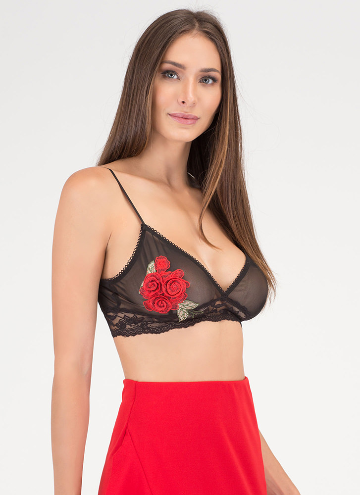 Grow Along Sheer Floral Bralette BLACK