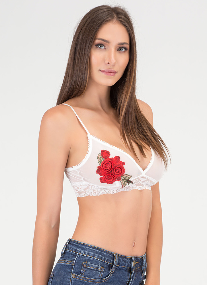 Grow Along Sheer Floral Bralette WHITE