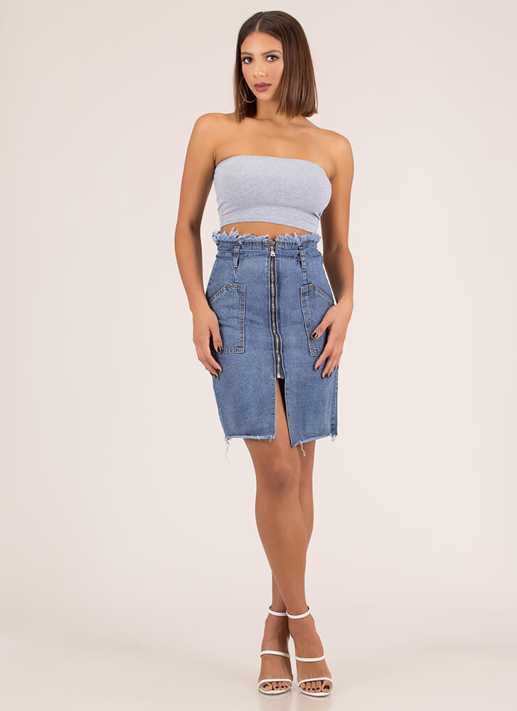 Jean Everything Zip-Up Paper-Bag Skirt BLUE (Final Sale)