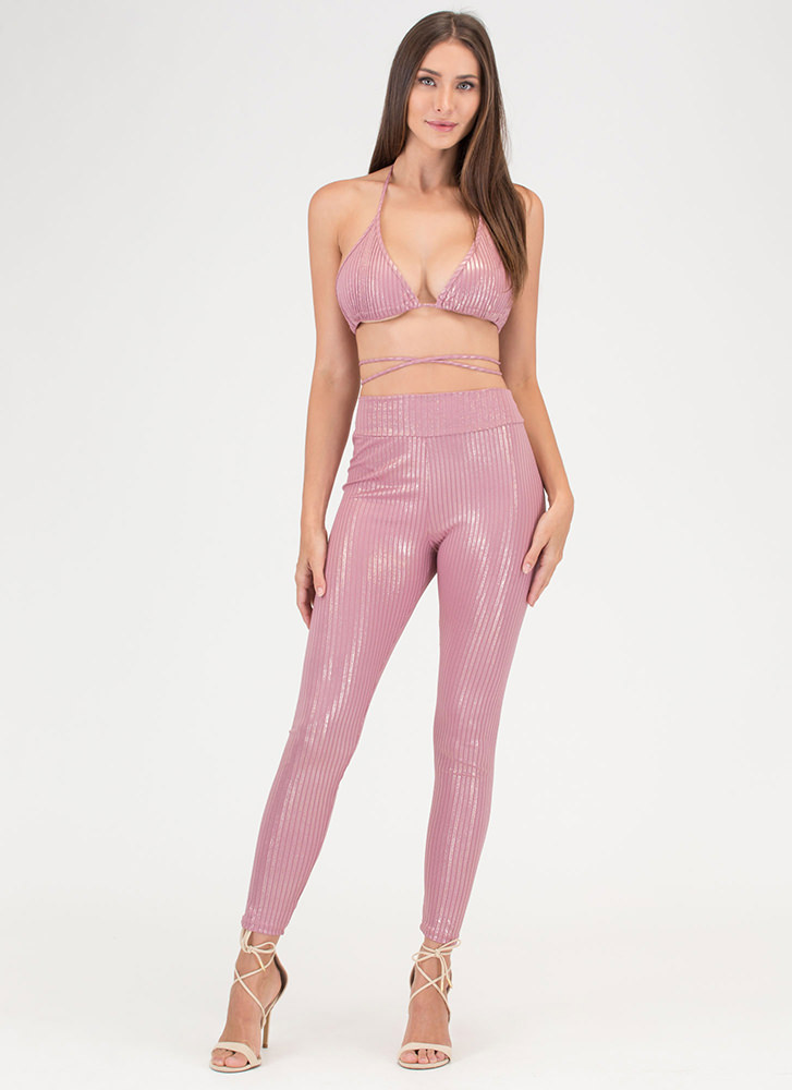 Fine Shine Ribbed Top 'N Bottom Set MAUVE