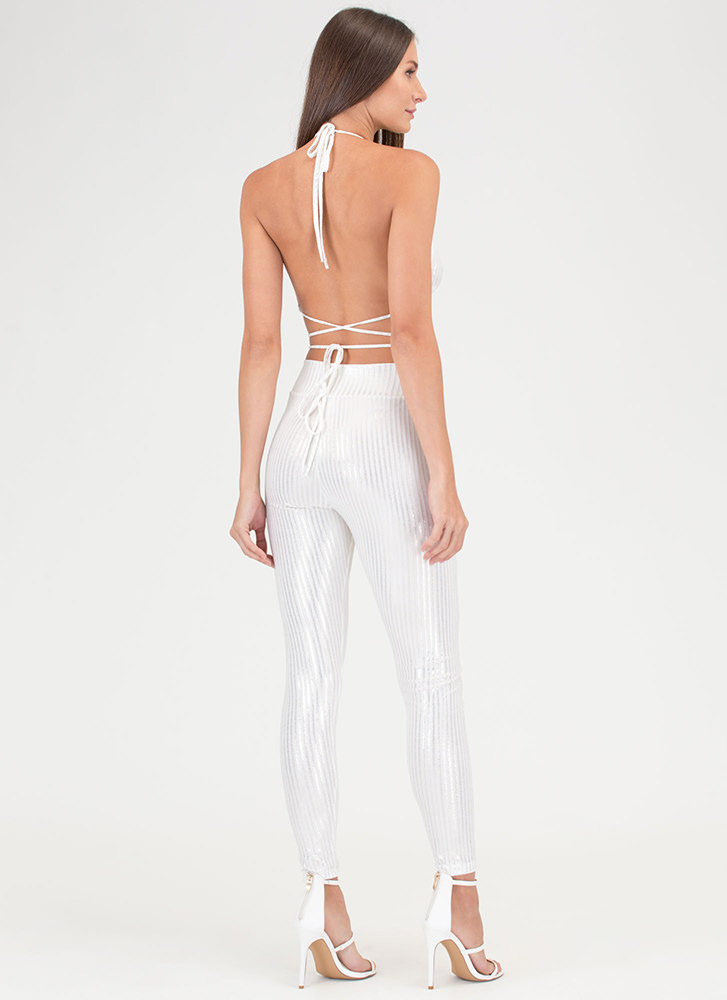 Fine Shine Ribbed Top 'N Bottom Set WHITE