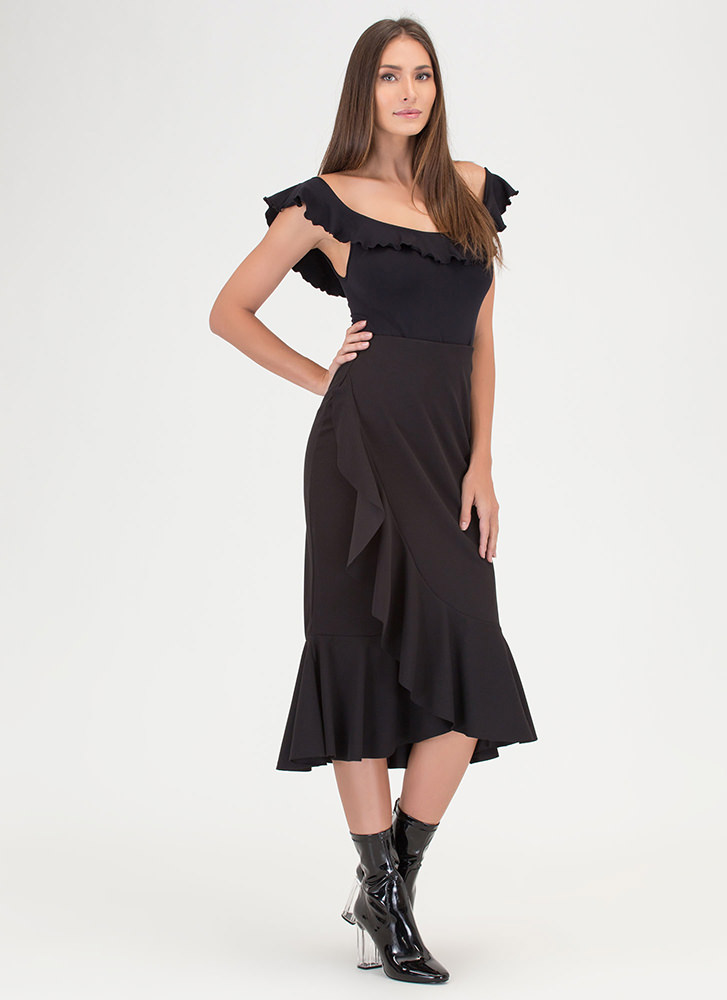 Stylish Memory Ruffled Midi Skirt BLACK