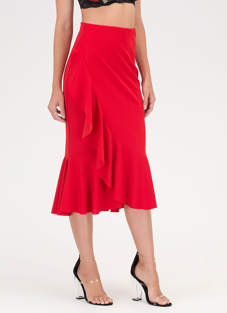 Stylish Memory Ruffled Midi Skirt RED
