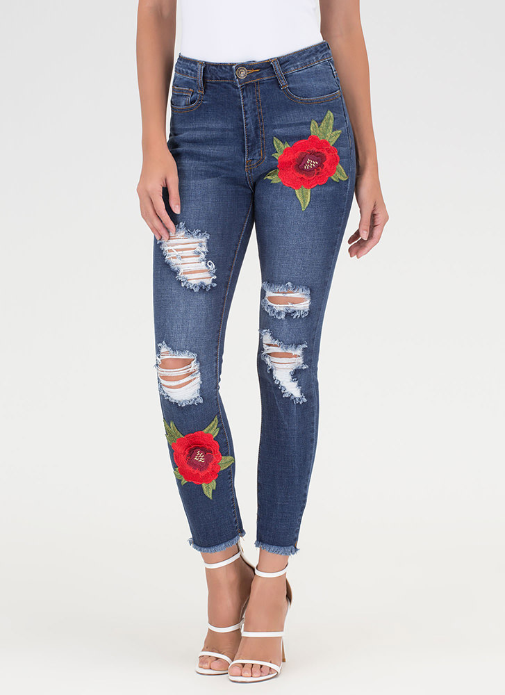 Botanical Chic Embroidered Skinny Jeans BLUE